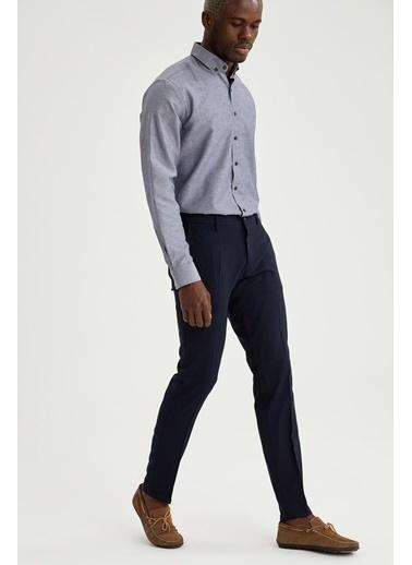 DeFacto Desenli Regular Fit Uzun Kollu Gömlek Mavi
